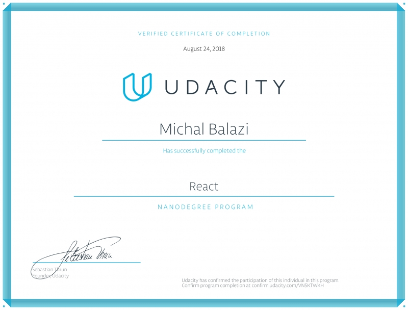 Developer certificate - React Nano-degree from Udacity